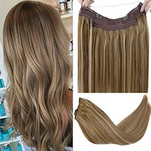"""LaaVoo 14"""" Flip on Remy Human Hair Extensions Balayage Ombre Colorful Light Brow"""