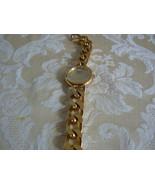 Lovely Moulin Gold Tone Large Heavy Link Quartz Watch - $19.79