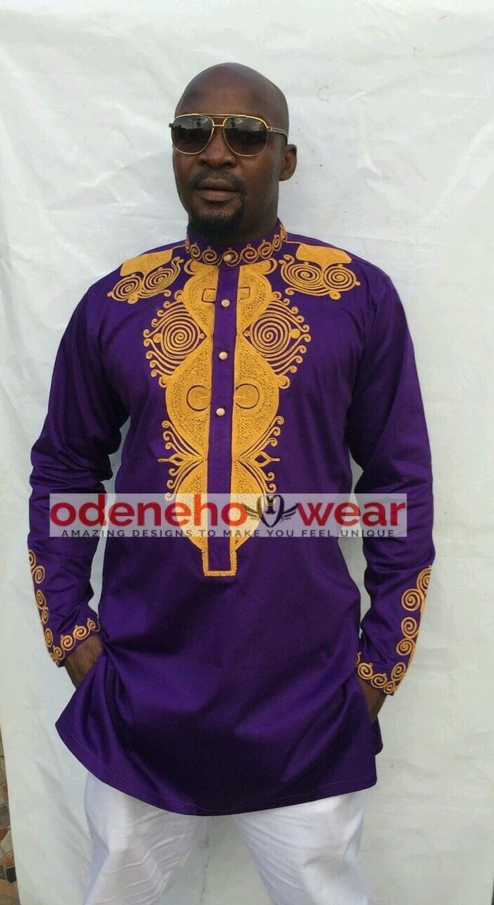 Odeneho Wear Men's Purple Polished Cotton Top/Gold Embroidery. African Clothing - $84.15 - $94.05