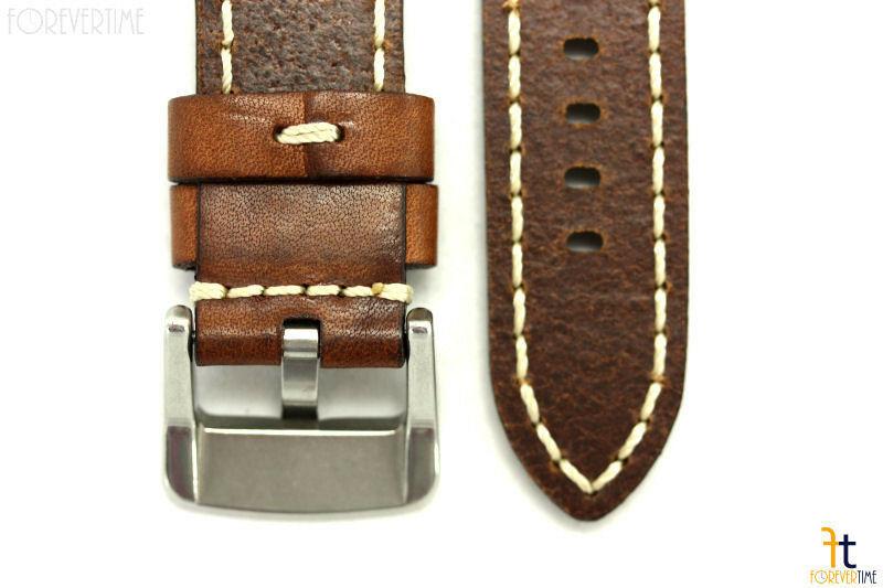 26mm Marrone in pelle Liscia Cinturino Orologio con / Cuciture per Luminox