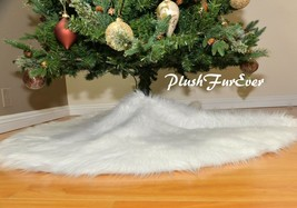 "60"" Round Tree Skirt Faux Fur Snow White Christmas Decor Winter Holiday - $113.05"
