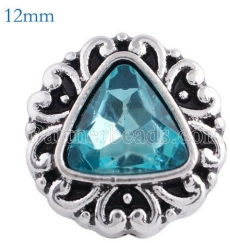 Primary image for Antique Silver Teal Rhinestone 12mm Mini Petite For Ginger Snaps Magnolia Vine