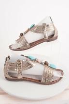Sam Edelman Womens Gifford T-Strap Sandal Sz 6 M Eu 37 Leather Silver Beaded  - $44.54