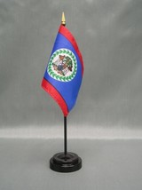 "BELIZE 4X6"" TABLE TOP FLAG W/ BASE NEW DESK TOP HANDHELD STICK FLAG - $4.95"