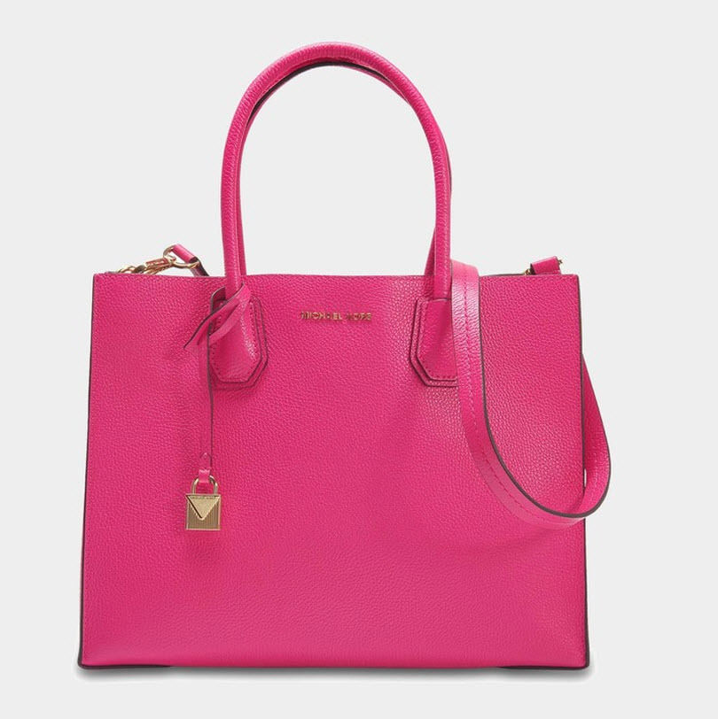 8c50391808cb Mercer large convertible tote bag in ultra pink pebbled leather1