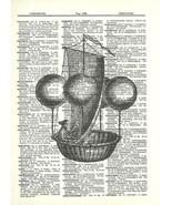 Balloon Airship Steampunk Air Balloon Ride Dictionary Print  fun021 - $10.99