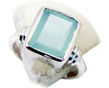 Natural Round Cut Aqua Chalcedony Ring 925 Sterling Silver Ring Sizes 4 To 13