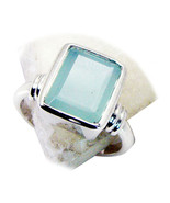 Natural Round Cut Aqua Chalcedony Ring 925 Sterling Silver Ring Sizes 4 ... - €24,43 EUR