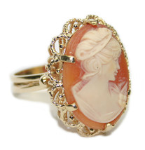 14k Yellow Gold Ladies Carved Shell Maiden Bust Cameo Ring-Size 10.5 Rar... - $595.00