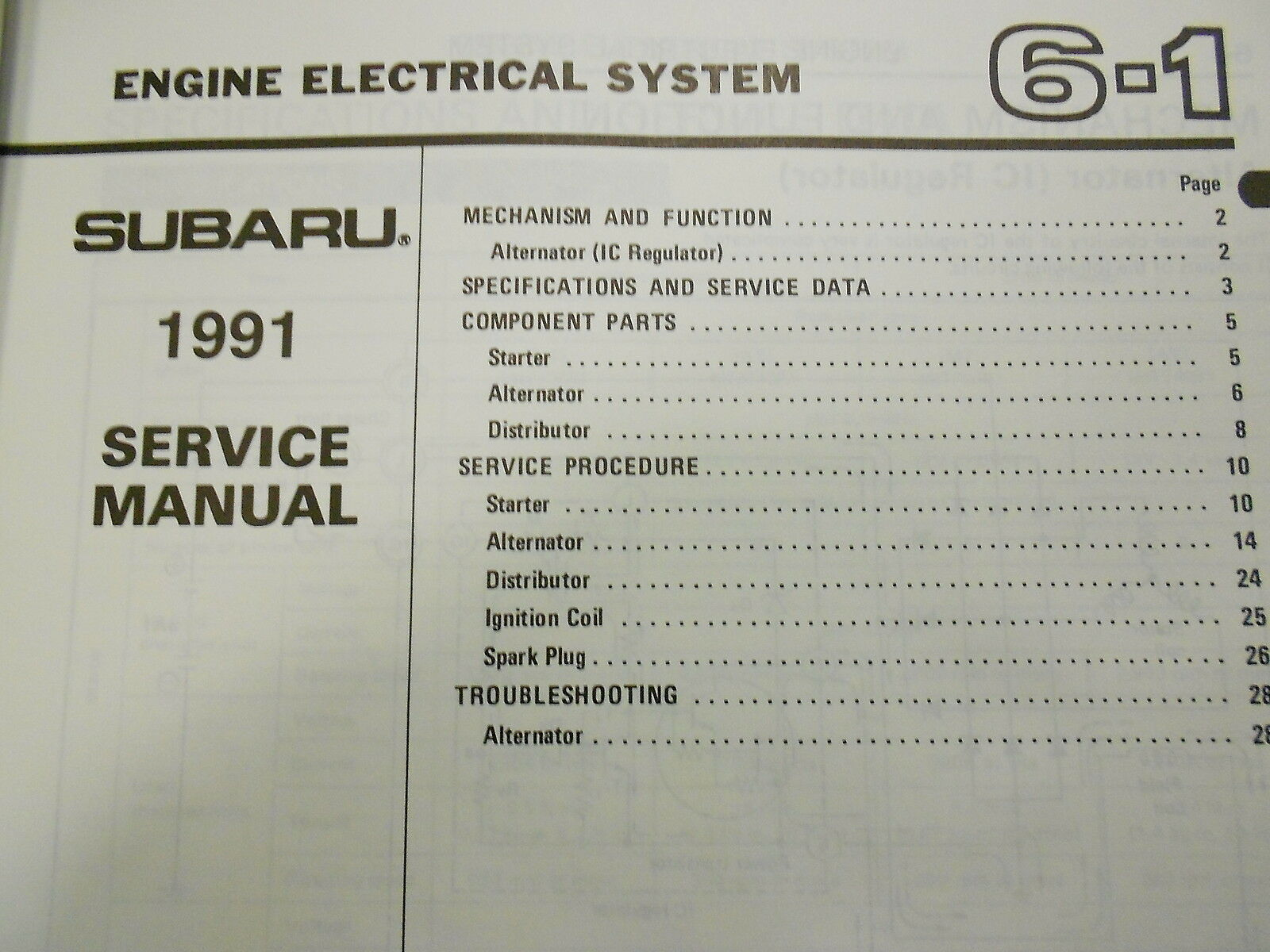 1991 Subaru XT Electrical Wiring Service Repair Shop Manual FACTORY FEO BOOK 91