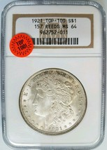1921 Silver Morgan Dollar NGC MS 64 Vam 157 Reeds Mint Error Top 100 Coin - $199.99