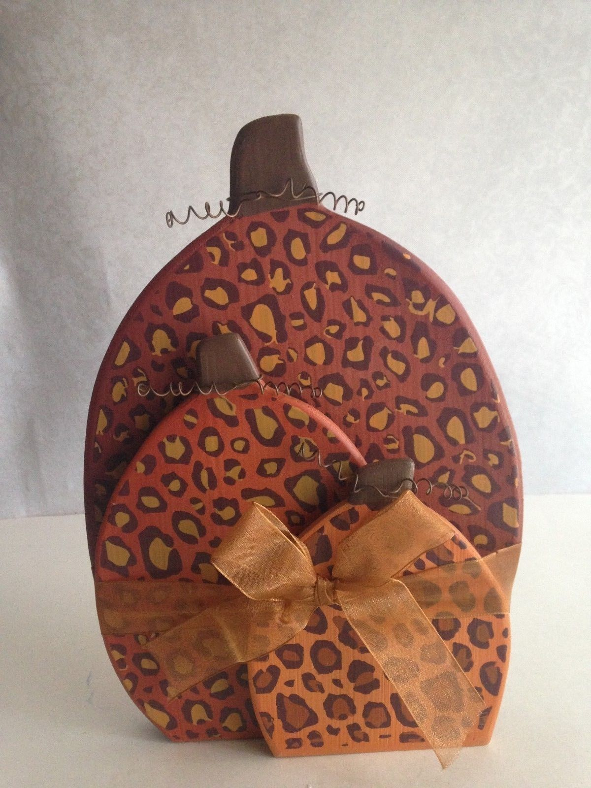 "Wall-Table Plaque Autumn Halloween Thanksgiving Home Decor Brown Orange 11""X6.5"""