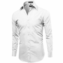 Omega Italy White Classic Fit Standard Cuff Solid Dress Shirt - XL image 2
