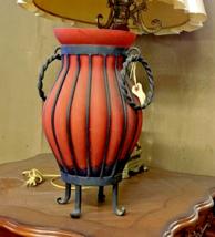 "Italian Murano Glass Vase in Bronze Holder 16"" Tall - $94.05"