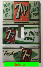 Old 7Up Soda Poster Light Switch Power Outlet Wall Cover Plate Home decor image 1