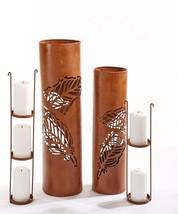 "Rustic Lantern Pillar Candle Holders 22.5"" high & 27.3"" high Set of 2 image 2"