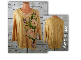 White Stag Embellished Floral 3/4 Sleeve Blouse Tunic Size: XL (16-18)
