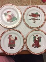 Vtg Debbie Mumm Magic Of Santa Salad / Dessert Plates Set Of 4 With Box - $16.78