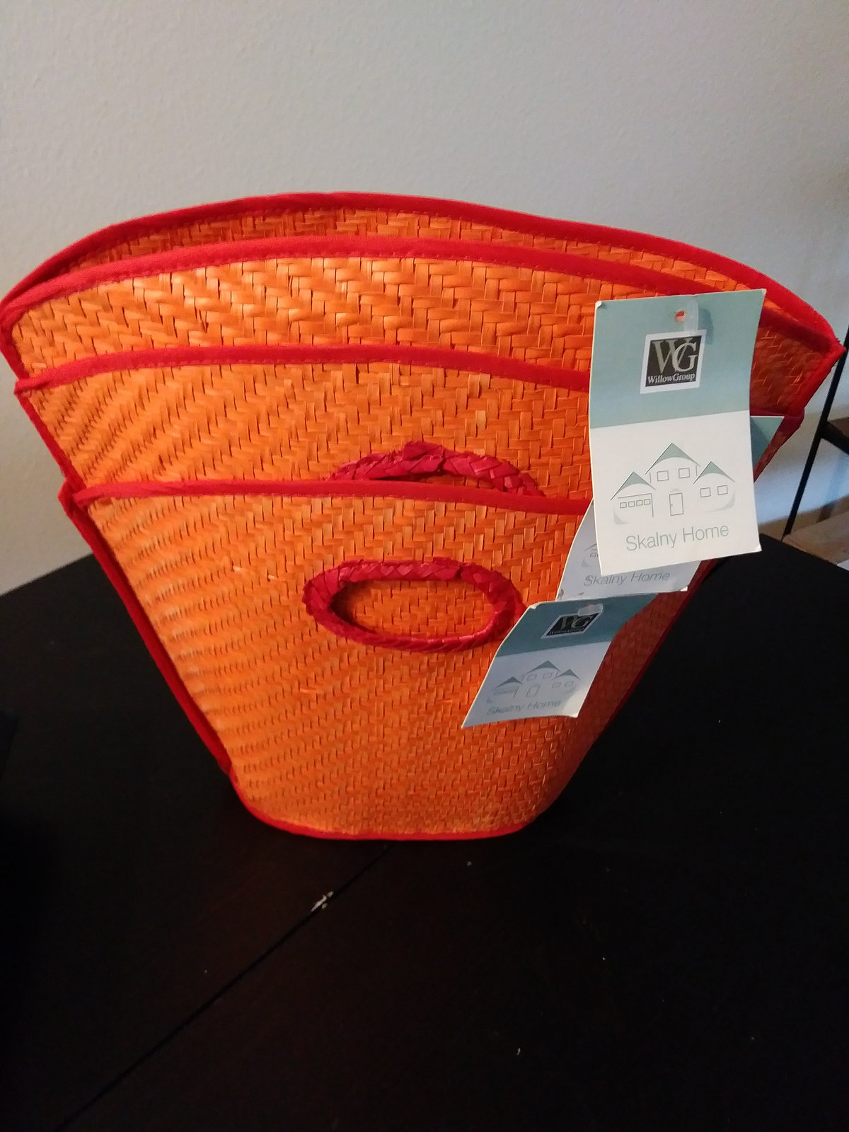 3 New Cute Orange Woven Straw Mini Tote Bags/Light Weight Multiple Uses Tote Bag