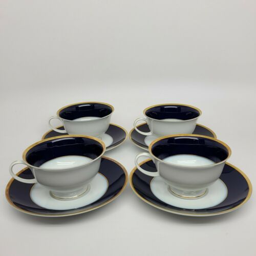 Primary image for Rosenthal Regency Cobalt/Gold Classic Rose cups and saucers (4) similar Claudine