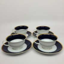 Rosenthal Regency Cobalt/Gold Classic Rose cups and saucers (4) similar ... - $88.83