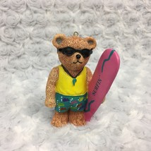 Claires Teddy Bear Ocean Surfing Surfboard Collectible Ornament Vtg 1997  - $12.19