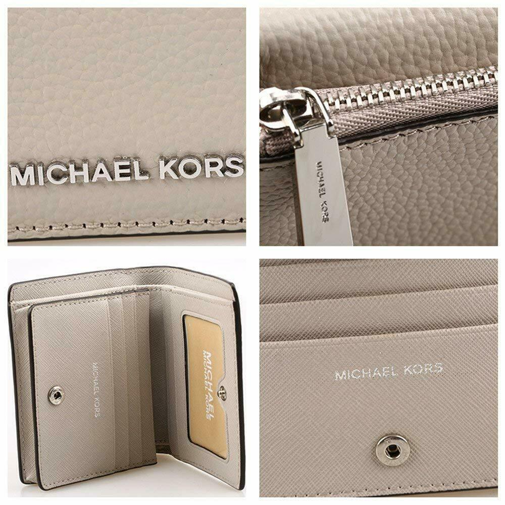 NWT MICHAEL KORS Jet Set Carryall Leather Card Case Cement Silver 32T6GTVD2L