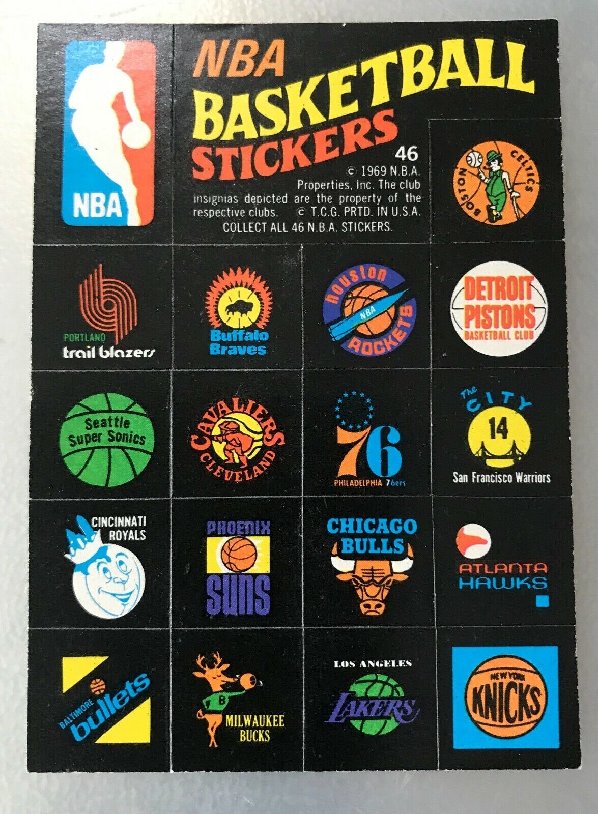 1971 Topps Trios Stickers #46 NBA Team Logo Stickers