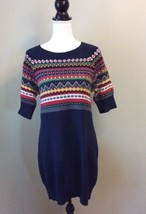 Tommy Hilfiger Large Navy Blue Cable Knit Sweater Dress Fair Isle Nordic - $22.43