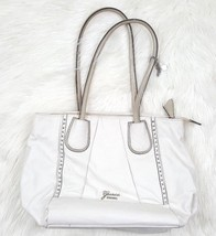 Guess Womens Solid White Purse Hand Bag Silver Studs Animal Print Inside... - $24.18