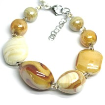 BRACELET ORANGE WHITE ROUNDED DROP, SPHERE, EXAGON MURANO GLASS MADE IN ITALY image 1