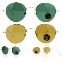 SA106 Snug Fit Small 90s Round Wire Rim Tempered Glass Lens Sunglasses - £7.13 GBP