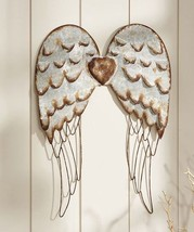 "27.5"" Metal Angel Wings Design Wall Decor w Silver Detailing-Copper Heart Accent"