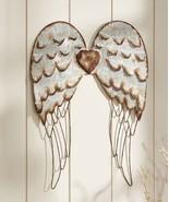 "27.5"" Metal Angel Wings Design Wall Decor w Silver Detailing-Copper Hear... - $79.19"