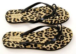 Kate Spade Black Nova Leopard Print Thong Sandals Flip Flops Women's NEW - $37.49