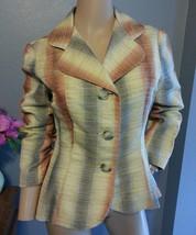 James Coviello Anthropologie Cotton Silk Ombre Stripe Blazer Jacket 10 - $151.99