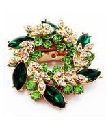 Green Flowers Shape Brooch Pins Chinese Redbud Scarf Buckle Garment Broo... - $10.00