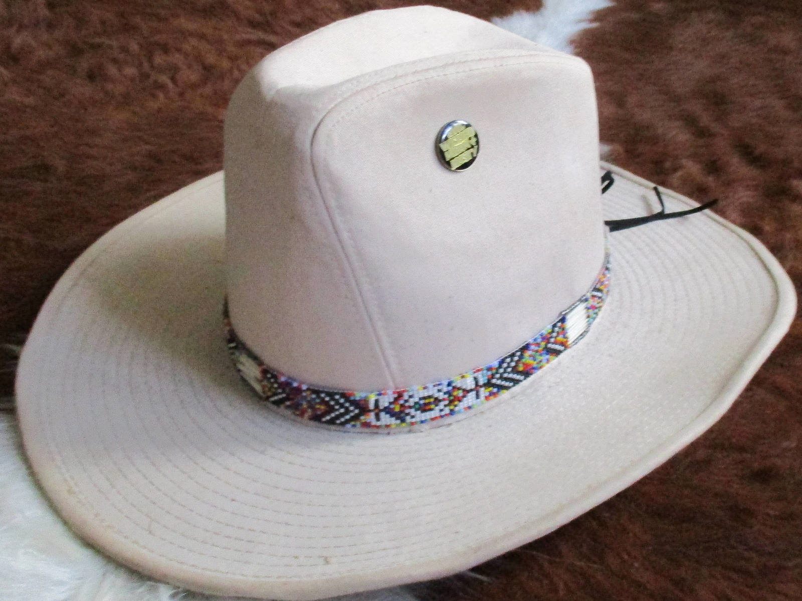 Custom Made Rainbow Hatband With Porcupine Quills & Glass Beads for Western Look