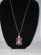NEW Betsey Johnson Multi-color Rhinestone Turtle Pendant on Lo... - $24.50