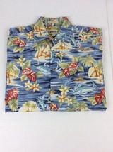 Campia Moda Tiki Village Bill-Fish Hawaiian Camp Shirt Mens Sz Large - $18.27