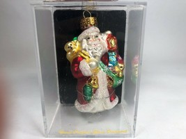 "Hand Crafted Glass Santa with Gifts Christmas Ornament 2006 Exclusive 3"" - $8.90"