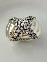 "David Yurman Sterling Silber Diamant "" X "" Ring Size 7.5 - $831.94"