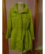 Alfani Womens Green Jacket Rain Coat Lined with Hood 2X Plus Size Gals 8... - $23.79