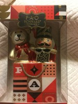 FAO Schwarz Toy Soldier Bear Gift Bag Christmas Ornament Hand Blown Glas... - $15.79