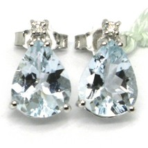 18K WHITE GOLD AQUAMARINE EARRINGS 3.20 CARATS, DROP CUT, DIAMONDS, ITALY MADE image 2