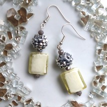 Murano Glass Earrings with Vintage Style Shimmer Beads - $13.00