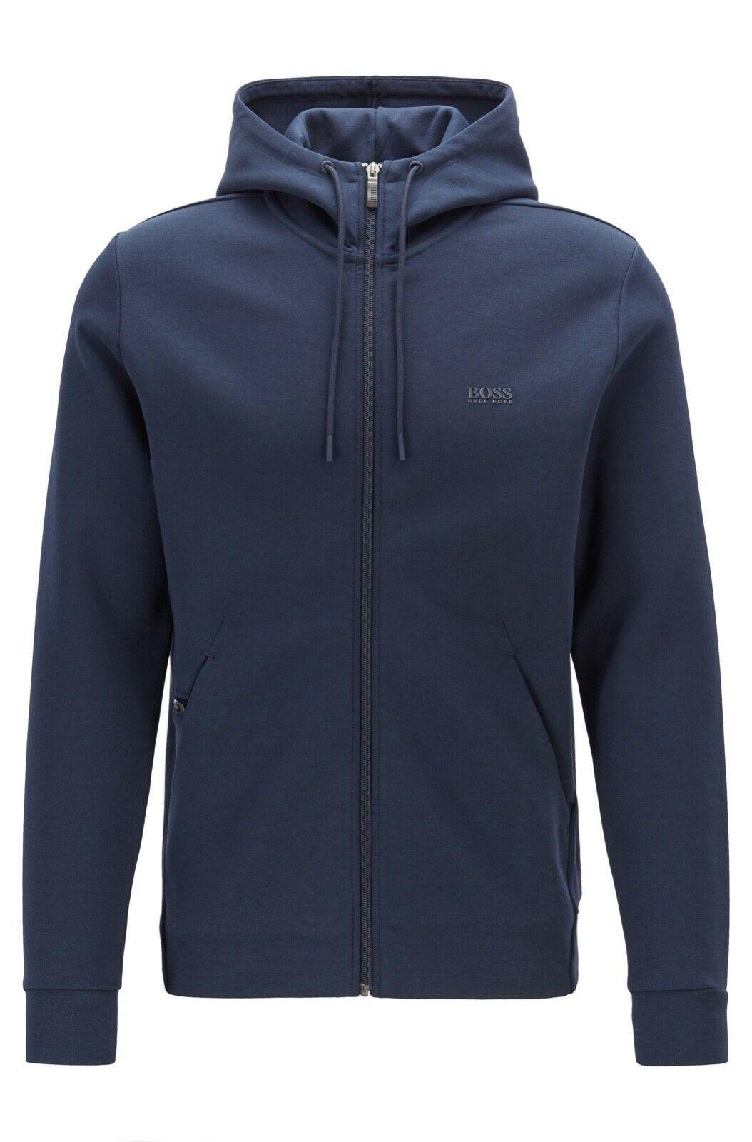 Hugo Boss Men's Sweater Zip Up Hoodie Sweatshirt Track Jacket Navy