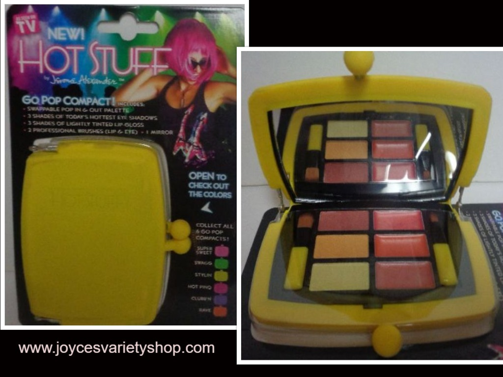 Primary image for Hot Stuff Eye Shadow Lip Gloss Compact NWT Neon Yellow Case