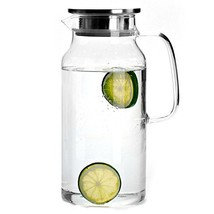 Cupwind 55 oz Glass Pitcher with Stainless Steel Lid, Hot/Cold Water Car... - $37.95