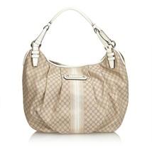 Pre-Loved Celine Brown Beige Jacquard Fabric Macadam Hobo Bag France - $340.34